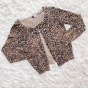 H&M Leopard Cheetah Print Button Up Cardigan